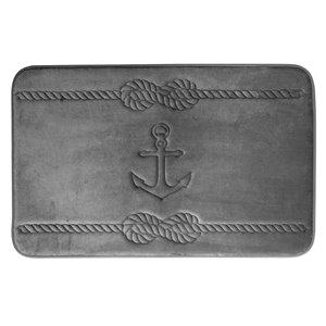 Tapis de bain gris foncé en polyester et mousse mémoire Swift Home, motif d'ancre, motif d'ancre, 20 po x 32 po