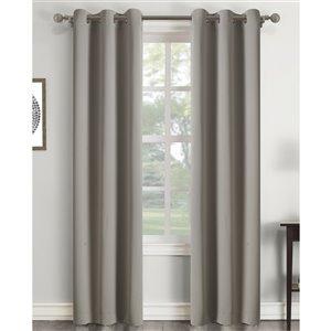 Panneau de rideau à oeillets assombrissant gris en polyester avec doublure entrelacée par Swift Home de 84 po