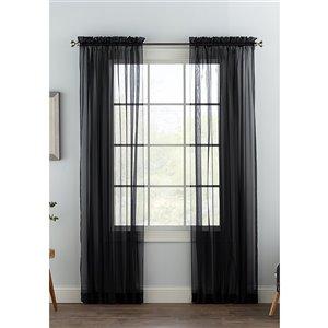 Panneau de voilage double noir en polyester avec doublure entrelacée par Swift Home de 84 po