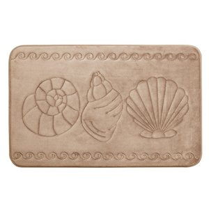 Tapis de bain beige en polyester et mousse mémoire Swift Home, motif de coquillage, 17 po x 24 po