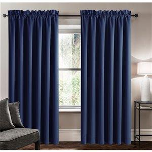 Panneau de rideau simple assombrissant bleu marine en polyester avec doublure entrelacée par Swift Home de 63 po