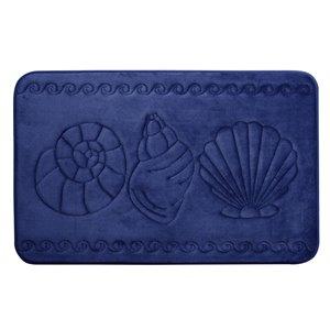 Tapis de bain bleu marine en polyester et mousse mémoire Swift Home, motif de coquillage, 20 po x 32 po