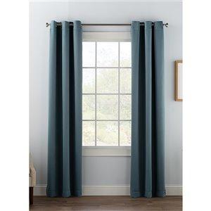 Panneau de rideau simple occultant bleu gris en polyester avec doublure entrelacée par Swift Home de 63 po