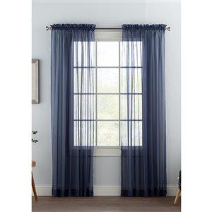 Panneau de voilage double bleu marine en polyester avec doublure entrelacée par Swift Home de 84 po