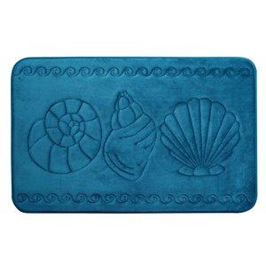 Tapis de bain sarcelle en polyester et mousse mémoire Swift Home, motif de coquillage, 20 po x 32 po