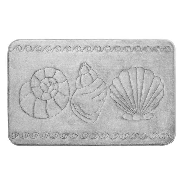Tapis de bain gris pâle en polyester et mousse mémoire Swift Home, motif de coquillage, 17 po x 24 po