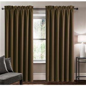 Panneau de rideau simple assombrissant brun chocolat en polyester avec doublure entrelacée par Swift Home de 63 po