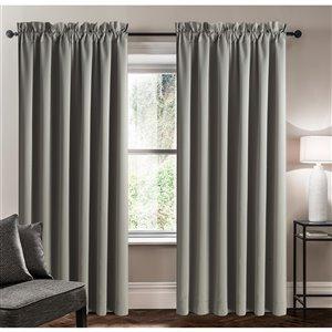 Panneau de rideau simple assombrissant gris en polyester avec doublure entrelacée par Swift Home de 95 po