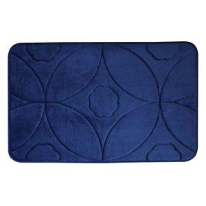 Tapis de bain bleu marine en polyester et mousse mémoire Swift Home, motif d'accolade, 20 po x 32 po