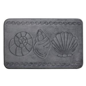 Tapis de bain gris foncé en polyester et mousse mémoire Swift Home, motif de coquillage, 17 po x 24 po
