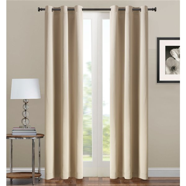 Panneau de rideau simple occultant beige en polyester avec doublure entrelacée par Swift Home de 84 po