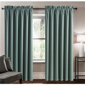 Panneau de rideau simple assombrissant bleu gris en polyester avec doublure entrelacée par Swift Home de 95 po