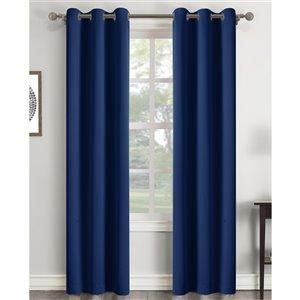 Panneau de rideau à oeillets assombrissant bleu marine en polyester avec doublure entrelacée par Swift Home de 84 po