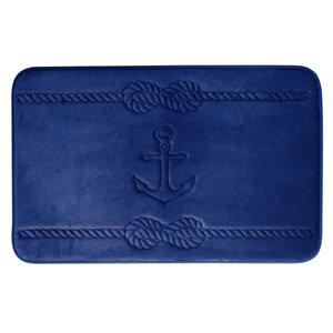 Tapis de bain bleu marine en polyester et mousse mémoire Swift Home, motif d'ancre, motif d'ancre, 17 po x 24 po