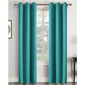 Panneau de rideau simple assombrissant sarcelle en polyester avec doublure entrelacée par Swift Home de 84 po