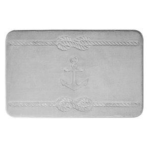 Tapis de bain gris pâle en polyester et mousse mémoire Swift Home, motif d'ancre, motif d'ancre, 17 po x 24 po