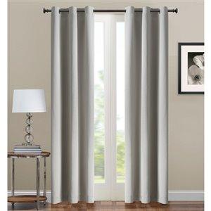 Panneau de rideau simple occultant gris en polyester avec doublure entrelacée par Swift Home de 95 po