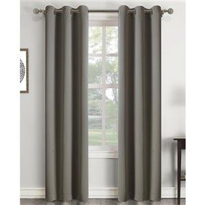 Panneau de rideau simple assombrissant gris anthracite en polyester avec doublure entrelacée par Swift Home de 63 po