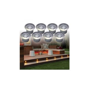 Ason Decor 8-Pack 0.1-Watt Stainless Steel Low Voltage Solar LED Deck Light Kit