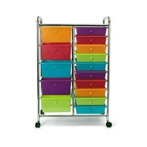 Seville Classics Metal 15-Drawer Rolling Organizer Cart - Multi-Colour