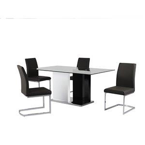 Ensemble de salle à manger Libra noir et blanc, avec table rectangulaire Mazin Furniture Industrials