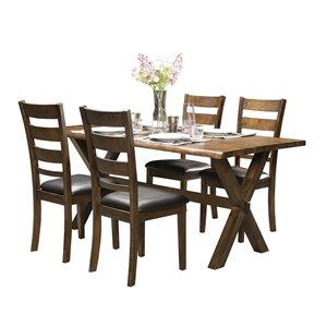 Table standard Sansa (30 po) rectangulaire en chêne, avec base brune en bois de HomeTrend