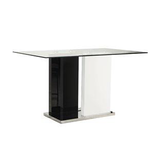Table de comptoir Libra (35 à 36 po h.) blanche et noire, rectangulaire, avec base noire en bois de HomeTrend