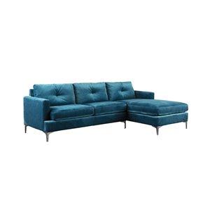 Sectionnel Hamilton moderne en velours bleu HomeTrend
