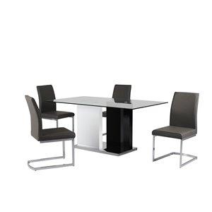 Ensemble de salle à manger Libra, Mazin Furniture Industrials, noir et blanc avec table rectangulaire