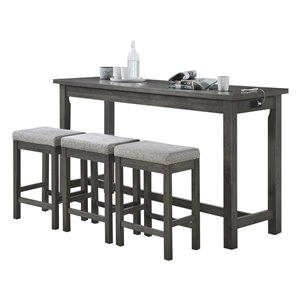 HomeTrend Connected Gray Dining Room Set With Rectangular Table