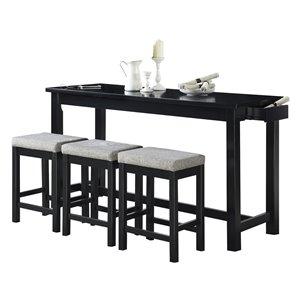 Ensemble de salle à manger Connected noir avec table rectangulaire Mazin Furniture Industrials