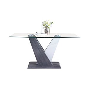 Table standard Baxter (30 po), grise et blanche, rectangulaire, en vitre avec base grise en bois de HomeTrend