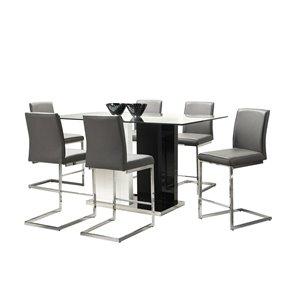 Ensemble de salle à manger Libra,  noir et blanc, avec table rectangulaire Mazin Furniture Industrials