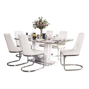 Ensemble de salle à manger Felix gris et blanc avec table rectangulaire, Mazin Furniture Industrials