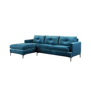 HomeTrend Hamilton Modern Blue Velvet Sectional