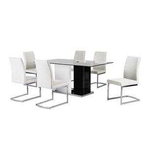 Ensemble de salle à manger Libra noir et blanc avec table rectangulaire, Mazin Furniture Industrials
