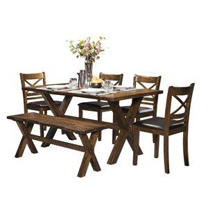 Ensemble de salle à manger Pandora brun avec table rectangulaire Mazin Furniture Industrials