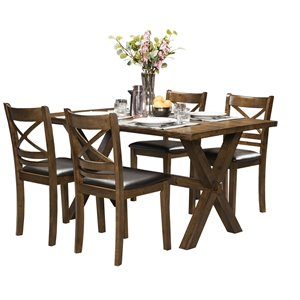Ensemble de salle à manger Pandora marron avec table rectangulaire Mazin Furniture Industrials