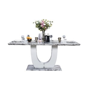 Mazin Furniture Industrials Felix Marble Rectangular Fixed Standard (30-in H) Table , Marble with White Marble Base