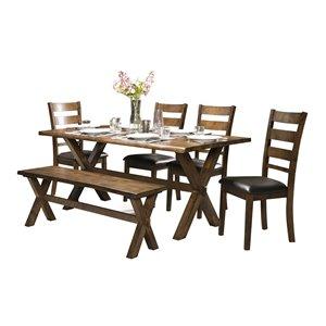 Ensemble de salle à manger Sansa brun avec table rectangulaire Mazin Furniture Industrials