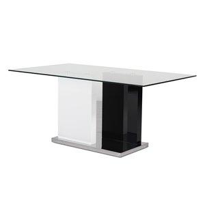 Table standard Libra (30 po h.) blanche et noire, rectangulaire, en vitre avec base noire en bois de HomeTrend