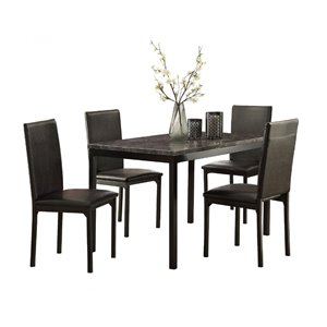 HomeTrend Tempe Black Dining Room Set With Rectangular Table