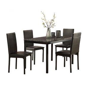 Ensemble de salle à manger Tempe noir avec table rectangulaire Mazin Furniture Industrials
