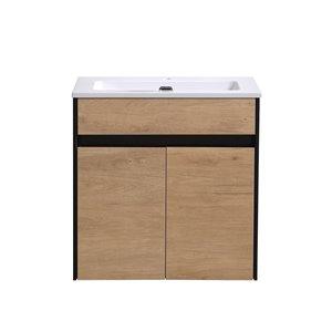 Akuaplus Isa Wall-Mounted Vanity with 2 Doors - Rustic Oak/Black Matte