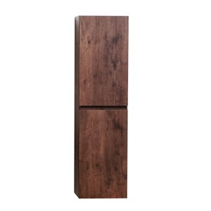 Akuaplus Ella Wall-Mounted Linen Cabinet with 2 Doors - Rosewood