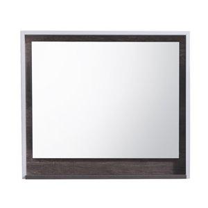 Miroir rectangulaire avec tablette de Akuaplus, 31 po x 28 po, chêne/blanc