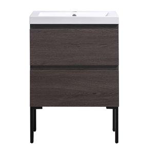 Meuble-lavabo à 2 tiroirs et pattes ajustable Naomi de Akuaplus, gris chêne