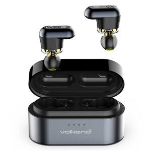 Écouteurs noirs intra-auriculaires de VolkanoX