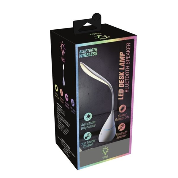 Lampe de bureau standard blanche Neon Series 17,8 po ajustable avec interrupteur marche/arrêt de Lumo