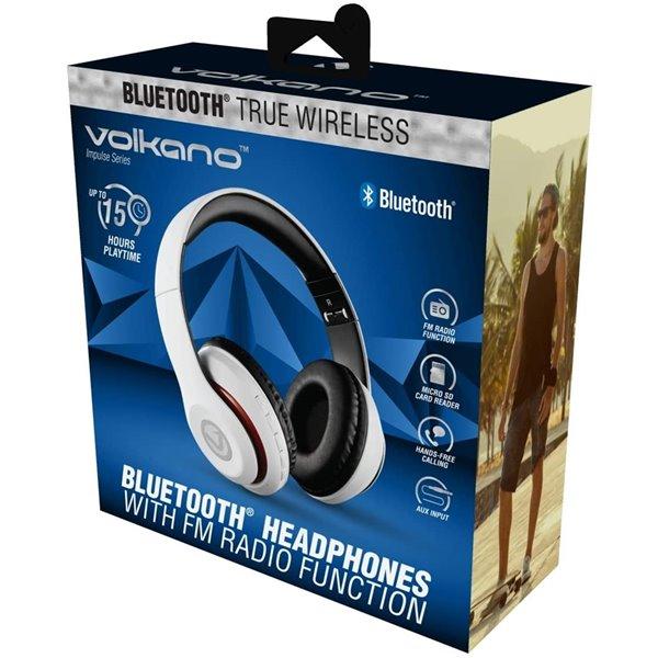 Écouteurs supra-auriculaires blancs de Volkano